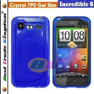 HTC Incredible S TPU Rubber Case   Blue Cell Phones