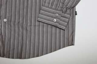 NWT $145 HUGO BOSS MENS GRAY STRIPED DRESS SHIRT XL