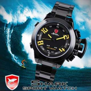 SHARK NEW RED LED DIGITAL DATE DAY MEN SPORT ARMY WATCH