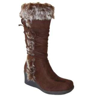 Stylish Faux Fur Cuff & Suede Lace Mid Calf Wedge Boots