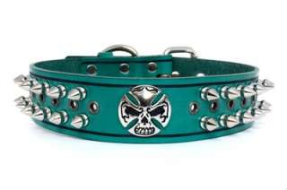 Designer Green/Black Genuine Leather Spiked Skull Dog Collar