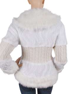 WHITE FAUX FUR WITH KINT COAT/JACKET #199 SIZE S/M