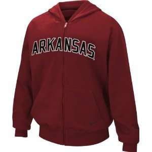 Razorbacks Youth Cardinal Nike Classic Arch Full Zip Hooded Sweatshirt