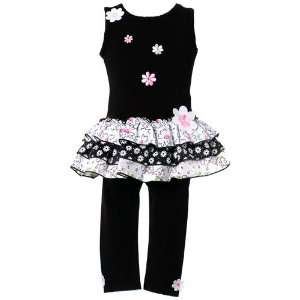 Bonnie Jean Infant Toddler Girls Black 2 Piece Tank Pant Outfit 12m 4T