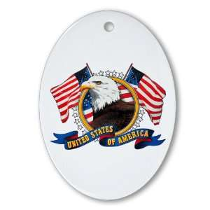 Ornament (Oval) Bald Eagle Emblem with US Flag