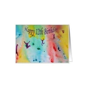 Birthday   Dancing Figures  Watercolor Painting Card Toys & Games