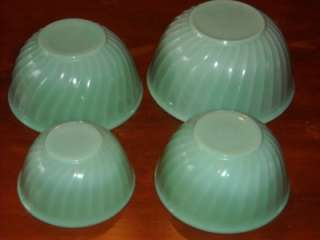 Vintage Anchor Hocking Fire King Jadite Nesting Bowl Set Swirl Pattern
