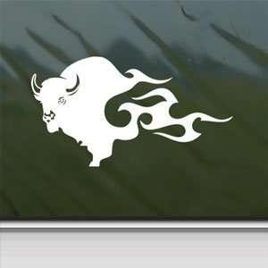 BUFFALO BISON White Sticker Car Laptop Vinyl Window White Decal Arts