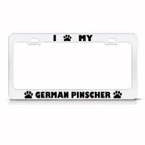 German Pinscher Dog White Metal License Plate Frame Tag
