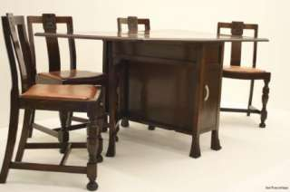 Antique Art Deco 1940s Oak Dining Table & Chairs