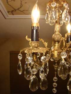 GREAT ANTIQUE BRASS BRONZE & CRYSTAL PETITE CHANDELIER
