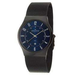Mens Mesh Black Stainless Steel Quartz Date Watch