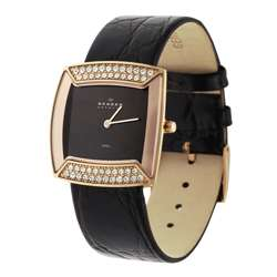 Skagen Womens Copper CZ Accent Leather Watch