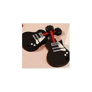 4GB Black Guitar Style USB Flash Drive with Keychain