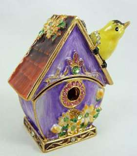 Pewter Swarovski Bejeweled Bird House w/ Goldfinch Trinket Box