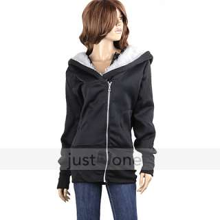 New Fashion Swank Women Girl Zip Up Zipper Top Jacket Long Hoodie Coat