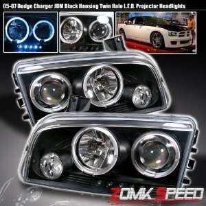 05 08 Dodge Charger Black Halo Led Projector Headlights Automotive