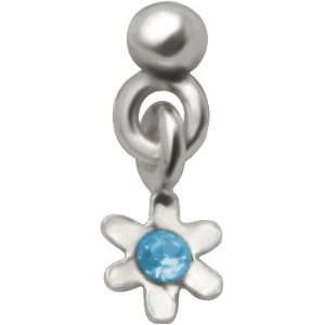 Tiny CZ Flower Dangle   925 Sterling Silver Nose Ring   Twist Jewelry