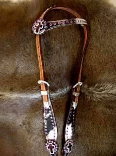 HORSE BRIDLE WESTERN LEATHER HEADSTALL PURPLE CROSS BARREL RACING HAIR