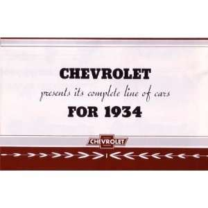1934 CHEVROLET Sales Brochure Literature Book Piece