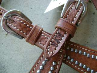 LOT SILVER SHOW 1 EAR RAWHIDE WESTERN BRIDLE HEADSTALL REINS