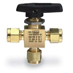 Parker three way ball valve, brass, 1/8 compression connection