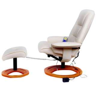 NEW Health Leather Creme White Office TV Recliner Massage Chair With