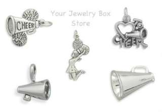 Sterling Silver Megaphone Pom Poms Cheer Cheerleader Charms