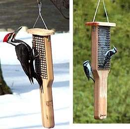 CHOICE PILEATED WOODPECKER DOUBLE CAKE SUET BIRD FEEDER With Tail Prop