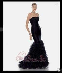 quality Black Mermaid wedding dress Formal Prom Gown SzCustom made