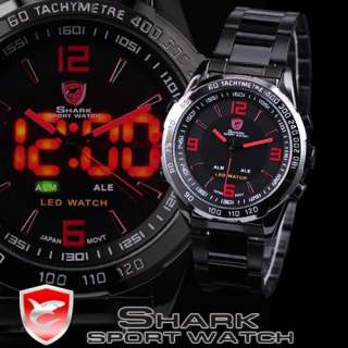 New SHARK LED Digital Black Dial Date Day Stainless Steel Quartz Men