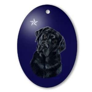 Lola Xmas Star Yellow labrador Oval Ornament by