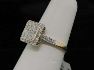 LADIES YELLOW GOLD PAVE ENGAGEMENT SQUARE DIAMOND RING