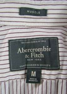 burgundy stripe ABERCROMBIE & FITCH casual shirt muscle MEDIUM