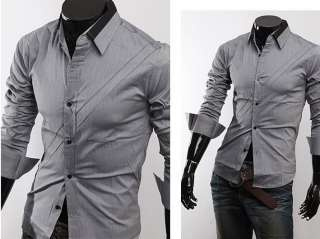 NWT Mens Casual Slim fit Stylish Dress Shirt M L XL XXL Gray White