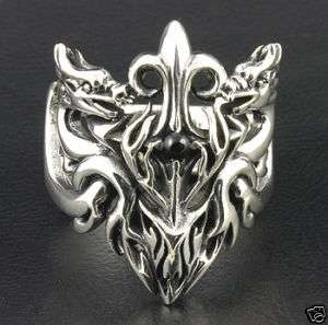 DRAGON GUARDIAN TATTOO GEM STERLING SILVER RING 12