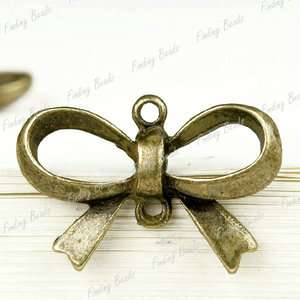 30Pcs Vintage Antique Brass Bronze Bow Tie Fashion Links connector