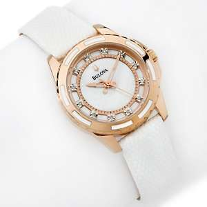 Bulova Ladies Diamond Marker White Leather Strap Watch