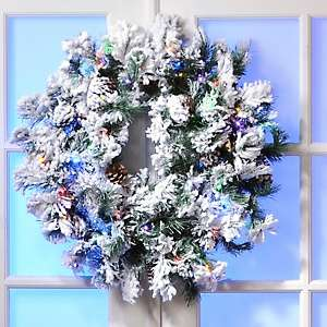 Colin Cowie 30 Flocked White Wreath with Lights and Timer