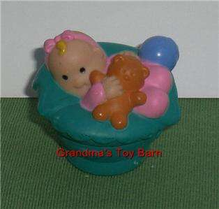 Fisher Price Little People Dollhouse BABY GIRL ASHLEY Green Basket