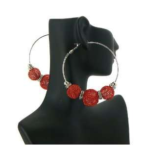 Red Basketball Wives Poparazzi Earrings with 3 Shamballa Disco Balls
