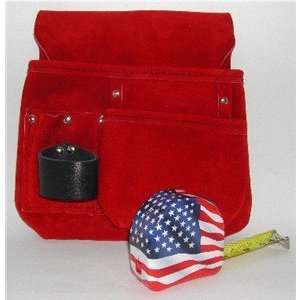 Set ~ Red Tool Pouch, American Flag Tape Measurer
