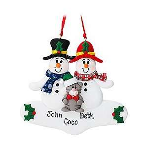 Personalized Snowman Couple With Cat Ornament