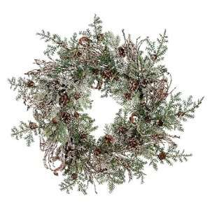 Iced Artificial Christmas Wreath with Pine Cones