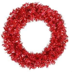 Laser Tinsel Artificial Christmas Wreath   Red Lights