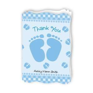 Baby Feet Blue   Personalized Baby Thank You Cards With