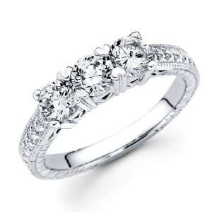 Three Stone Diamond Ring Round Anniversary 14k White Gold