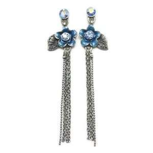 AM4219   7cm drop Blue Crystal / Enamel Flower / Chain Earrings
