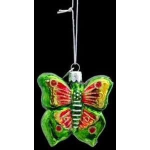 Kurt S. Adler Noble Gems Red and Green Butterfly Ornament