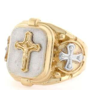 10k Two tone Gold Religious Cross Jesus Fancy Mens Ring Jewelry
